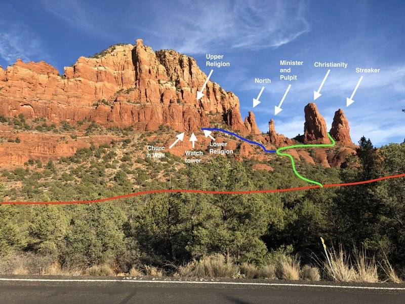 The church spire climbing areas. Red = Chapel trail, green = approach to Streaker, blue = approach to the good cragging. I would not recommend any of the other gullies right of the hairpin on the green line in this photo.