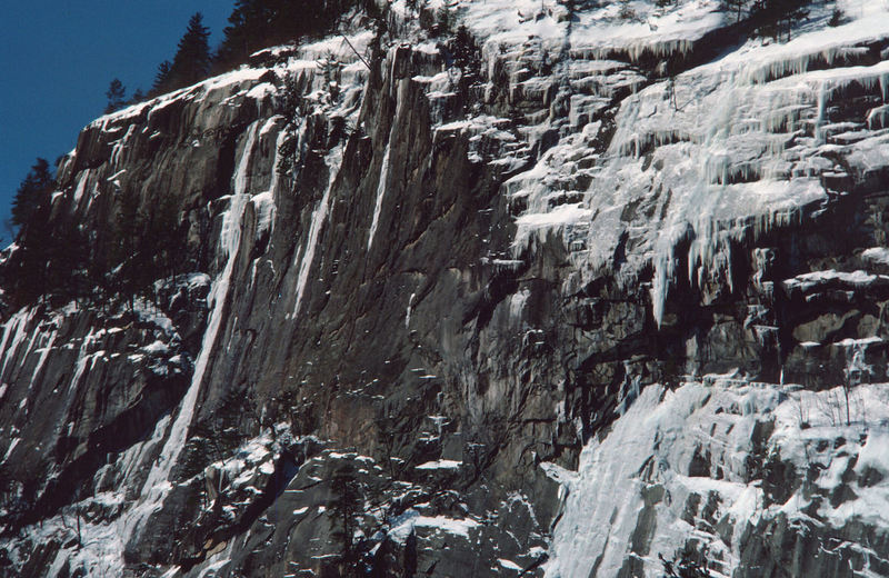 The Rouner brothers seen from a distance on the FA of the Myth in 1976. They had asked me to go with them,  but I was asked to help a friend in a court appearance so missed out on this historic first ascent.