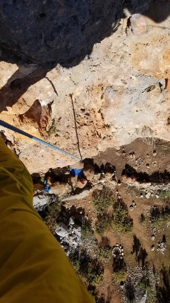 Looking down from the chains with pumped forms on Alabalik. You my want to back clean to cut down on rope drag.