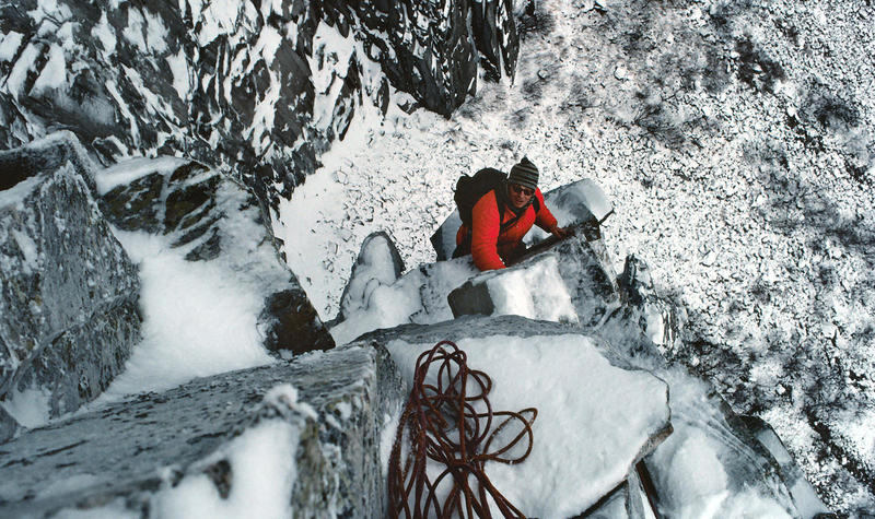 Dave Walters above the 'Pipe' pitch on a winter ascent of the 'WG' in 1980