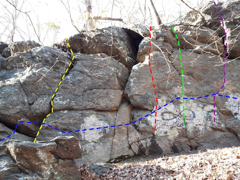 The Crack (yellow), Unknown 1 (red), Unknown 2 (green), Unknown 3 (purple), The Long Wall Traverse (blue)