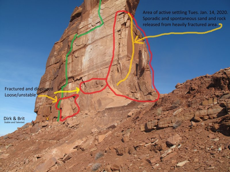 Sister Superior Base Southwest Elevation Info: Green line indicates terrain climbed to anchor formerly gained by climbing the 1st chimney pitch.