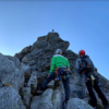 Rappelling off the beginning of the route after running into significant snow and ice in mid September
