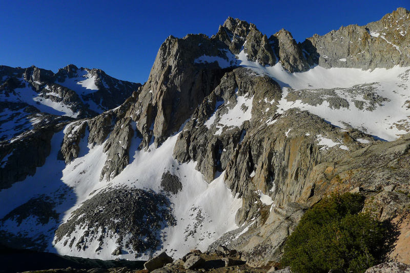 Early morning view of Powell and Picture Peak from the 'rounded ridge' approach to Haeckel - May 2012