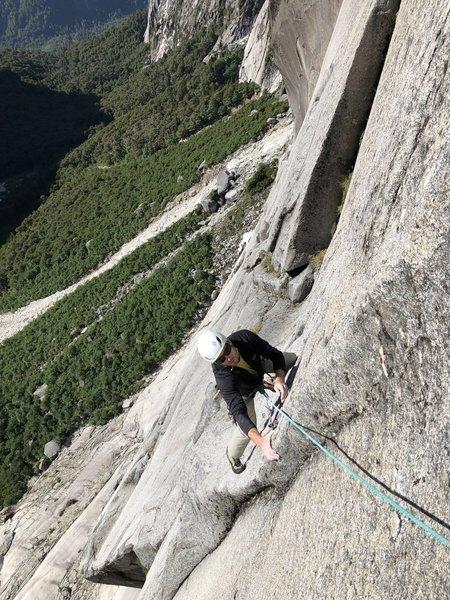 Top of P5, super fun, balancy traverse to belay