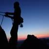 climbing the final pitch at sunset