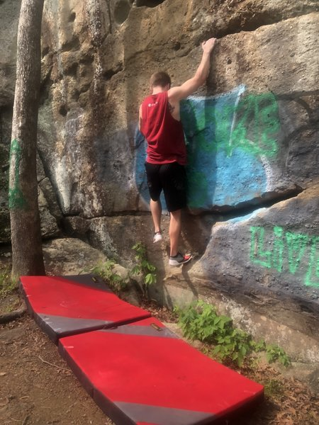 Trey working the traverse