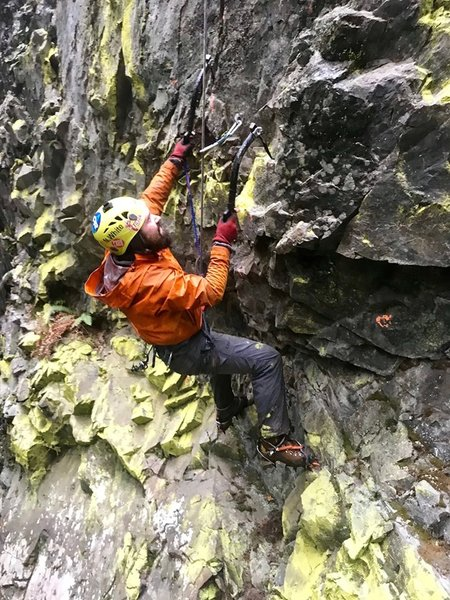 Noel visiting the crag for the first time. He is not enjoying himself.