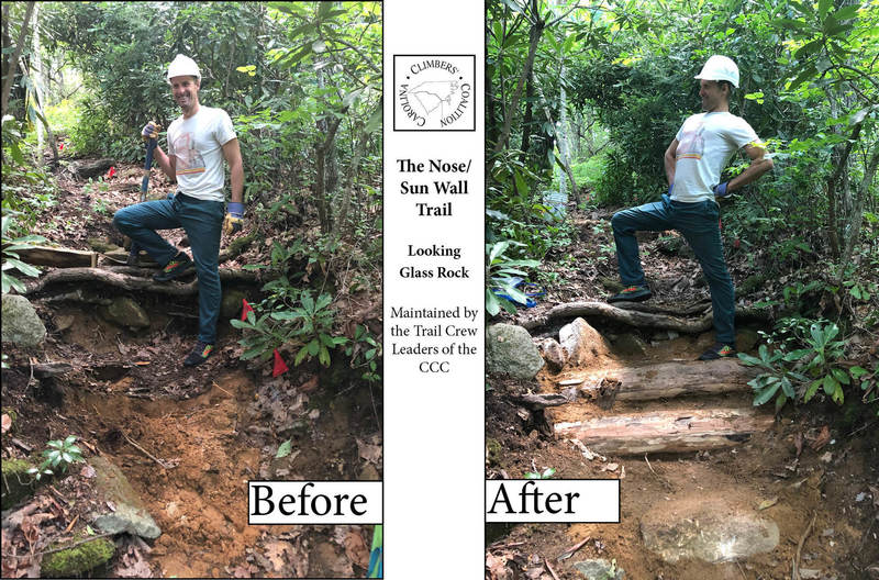 Wes helping to fight erosion on the Looking Glass Rock Trail