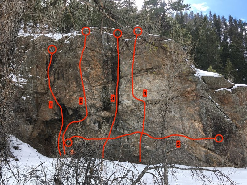 1) A-Frame Roof, 11d (5 bolts).<br> 2) Tan Panel, 11c (6 bolts).<br> 3) Bisecting Fist Crack, 10b (gear).<br> 4) White Panel, 11c (6 bolts).<br> 5) Bouldering Traverse, V2.