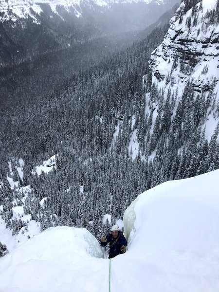 Tom coming over the lip of the third pitch. Awesome Exposure!