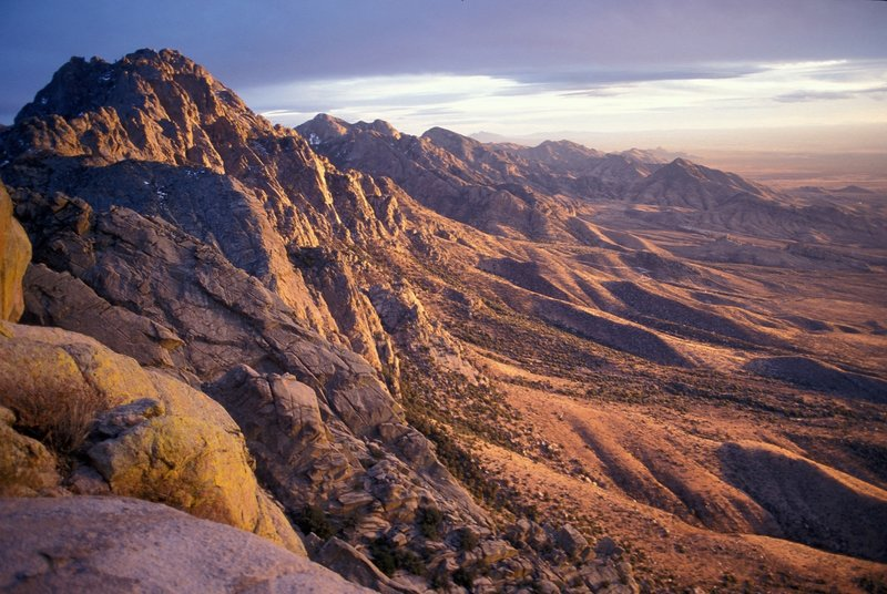 View of Organ Needle looking south at sunset. Baldy Peak in the far distance, left-center.