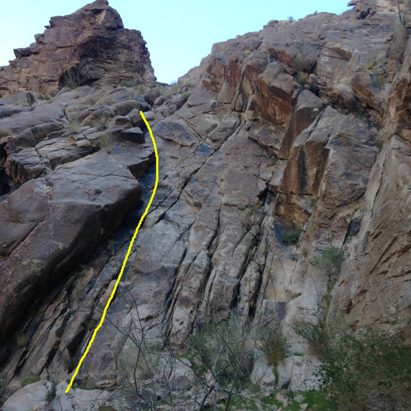 Waterfall Bypass Route, the central and best line on the crag.