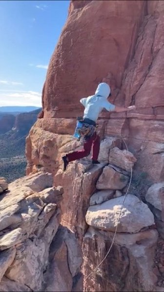 coyote tower jump! <br> much more mild compared to the mace jump (except for the choss you have to climb after!)...<br> photo my zachary dreher