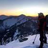 Summit photo on summit at sun set.