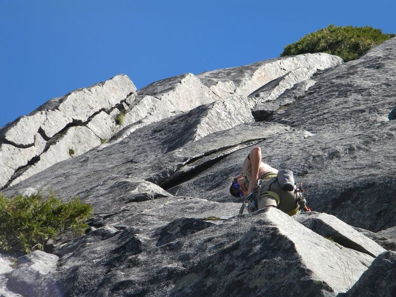 John Medosch leading up to the Predihedral on Pitch 2
