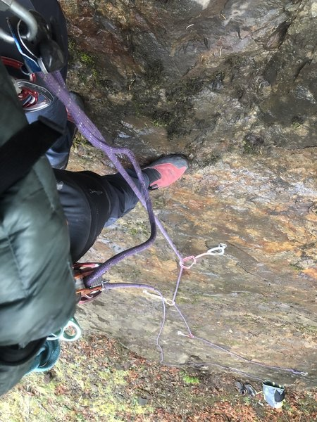 Rope soloing the first ascent in the rain