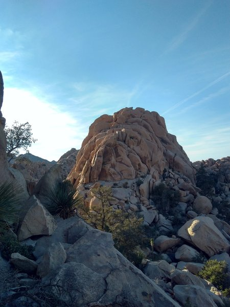 Pep Boys Crag from the shoulder of Dihedral Rock, Joshua Tree NP
