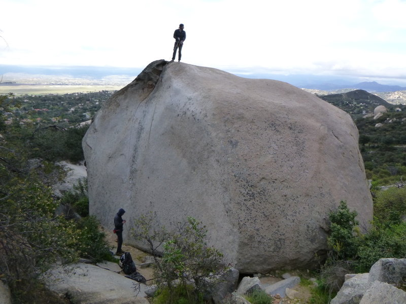 A view of the whole boulder.  5.7 slab to set up a TR is by the small tree on the right side of the picture.