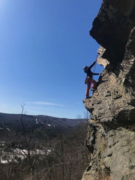 Unknown climber near the top of Sesame street, taken from Bourbon Street belay