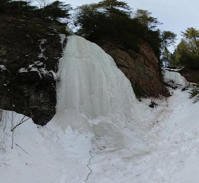 3/8/20 Cascade Falls from the bottom. Note small icefalls on the right.