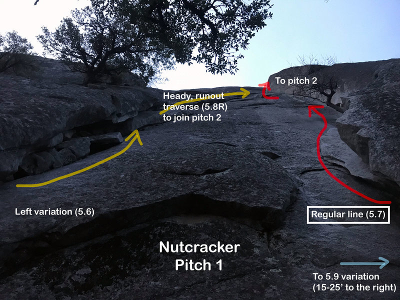 The right facing dihedral (yellow) is NOT the regular pitch 1! The regular p1 is the LEFT facing dihedral (red). Lots of bailing gear on the left variation. Don't make same mistake I did. The 5.9 finger crack variation starts ~25' to the right of the red.