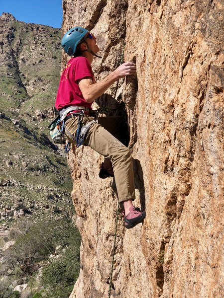 Brian Kennedy at the crux of Clickety Clack, at the Train Station.