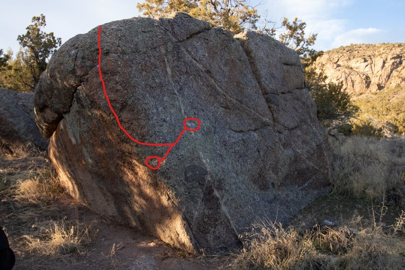 Starting holds and a guideline for the route.