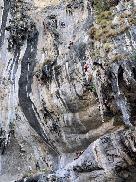 Climbers on the first two pitches of Humanality.