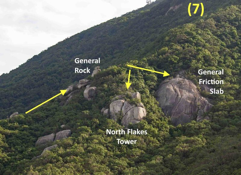 Access trails to General Rock, the top of General Friction Slab and North Flakes Tower (the descent trail to the base of both crags)