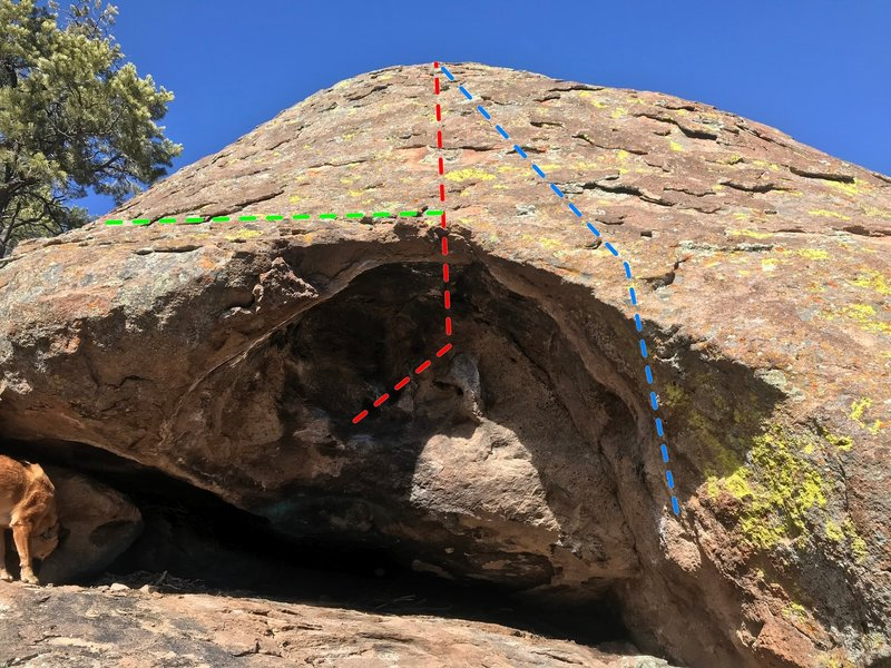 40 Foot Mantle (Red) and Cave Arete (Blue)
