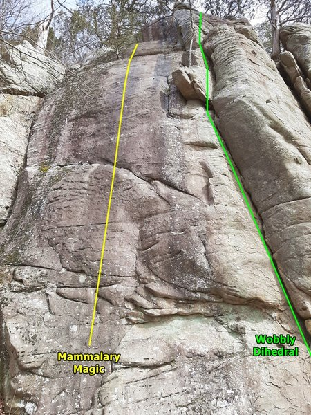 Mammalary Magic, and Wobbly Dihedral. The first climbs on the left (West) end of Old Sandstone.