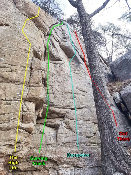 The High Life thru Out There. These routes are to the right of Dancing Madly Backwards and left of the Freaky Face wall.