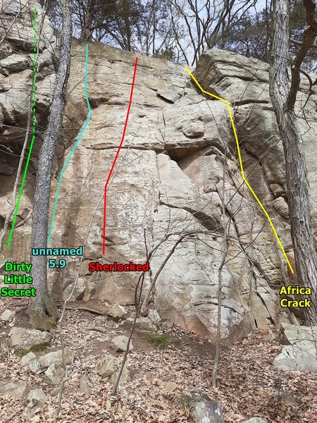 Dirty Little Secret to Africa Crack. Climbs in this area and to the right start to get shorter and the belay areas more overgrown. <br> <br> The unnamed 5.9 is S/M #22 and Knower #26.