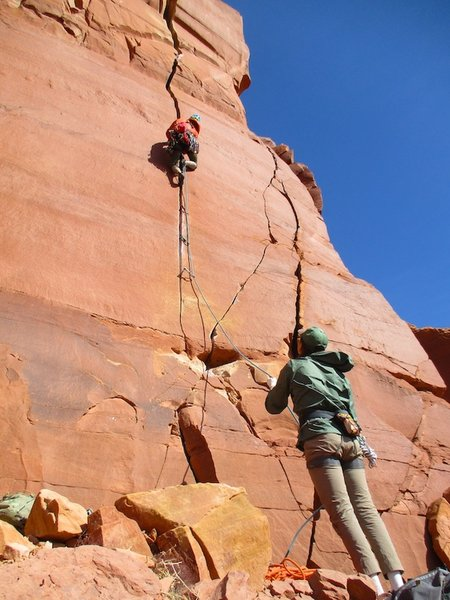 Climbers starting up Pitch 1.