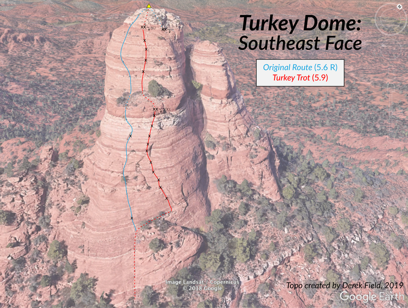 Phototopo for the southeast face of Turkey Dome.