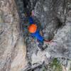 Matt Scherer about 50ft above his last