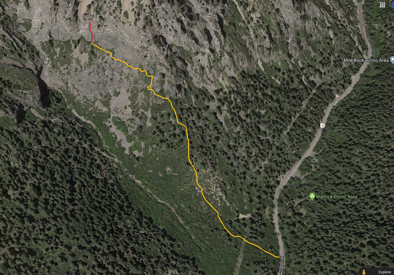 This is roughly the approach path (yellow) and location of route (red). Post if you find a better way or more details.