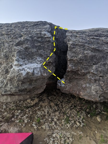Start is right edge in the crack. Move between the crack to top out