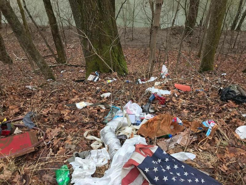 hike past trash off road down to creek