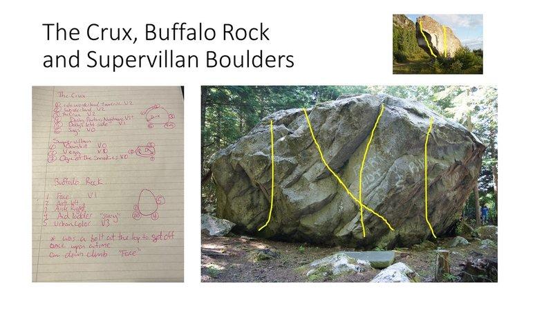 The Crux, Buffalo Rock and Supervillan Boulders