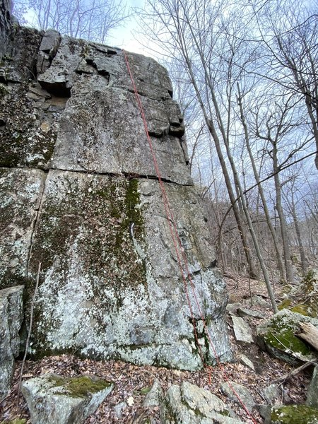 Climb is mostly to the right of where the rope hangs