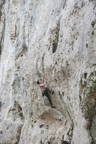 Dylan Fant getting over the crux during out Feb. 2020 trip