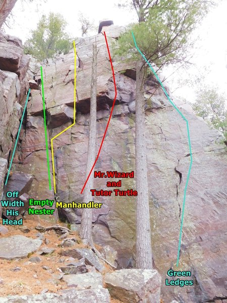 The Green Ledges wall west of the south tower.
