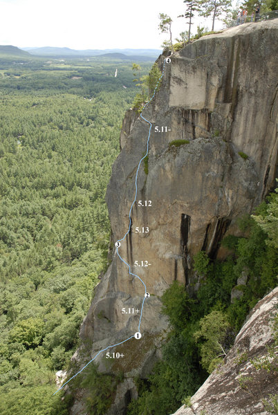 Sending the crux pitch from the ground was the real challenge. I combined pitch 2 & 3 together on the FA.