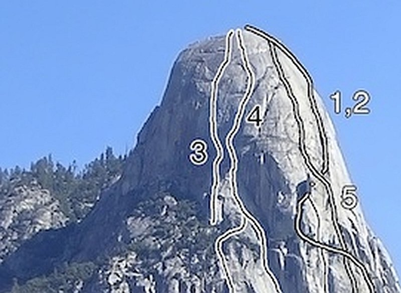 Tehipite Dome - SW Face.  3. Too Hip  4. In the Niche of Time  1,2. Beckey, Kroger, Wall of Ages<br> cropped from the AAJ photo overlay by Jay Wilkerson
