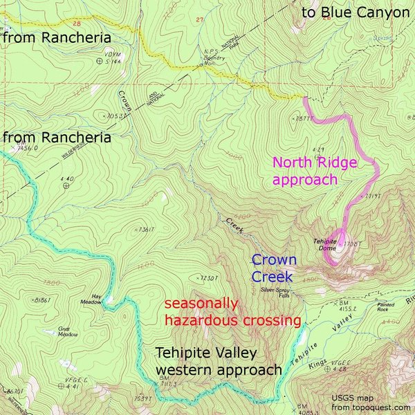 Tehipite Dome - approaches - USGS topo map, from topoquest.com