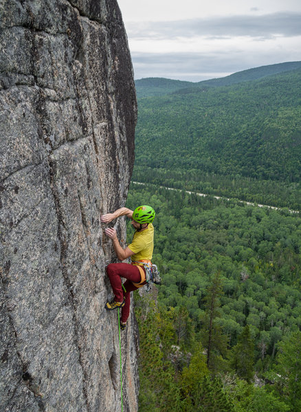 Dan Morin on the 3rd ascent of the route if im right. Sept 2018.