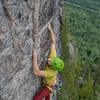 Dan Morin on the 3rd ascent of the route in sept 2018