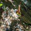 Petey working his way through the crux